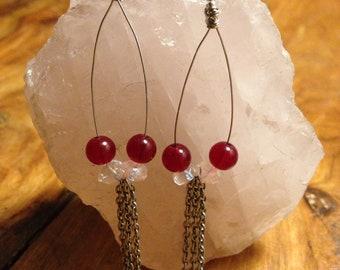 Garnet and Quartz Earrings