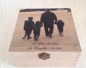 Fathers  Day photo keepsake box, personalised mothers day photo gift for mum/nan/stepmum, personalised gift for dad, unique.