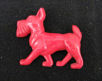 Vintage Carved Red Celluloid Scotty Dog Pin Free Usa Shipping