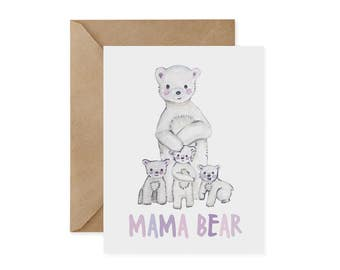 Polar Bear Card / Mama Bear - EcoFriendly Card, Conservation, Recycled, Green, Eco, Ethical, Sustainable, Mother's Day, Mom, Mother, Love