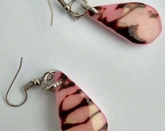 Earrings Teardrop in pink Tagua