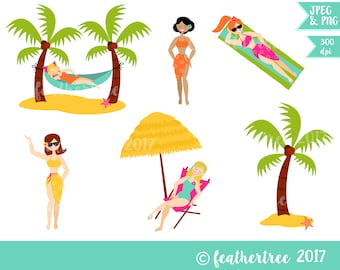 Digital Clipart - Beach Babes - Summer - Topical - Hammock - 300 dpi JPEG and PNG files - Instant Download