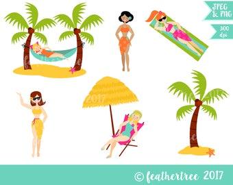 Descarga instantánea de imágenes prediseñadas - chicas de la playa - verano - actualidad - hamaca - 300 dpi archivos JPEG y PNG - digital