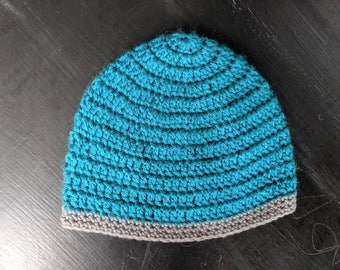 Teal and grey baby beanie size 3-6 months | baby beanie, teal beanie, handmade beanie, crochet beanie