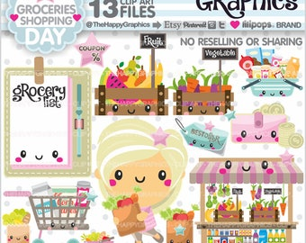 Grocery Cliparts, Grocery Graphics, COMMERCIAL USE, Groceries, Shop Graphics, Planner Accessories, Shopping Girl, Shopping
