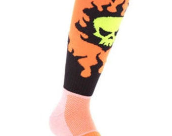 Samson® Flame Skull Funky Socks Sport Knee High Sport Football Rugby Soccer