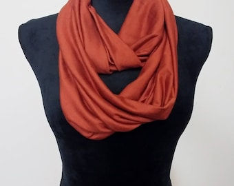 Copper/rust infinity scarf, circle scarf
