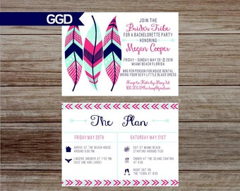Boho Chic Tribal Bachelorette Party Invitation with Schedule, bride's tribe bachelorette party, Hen's Party-Printed Invites or Digital File