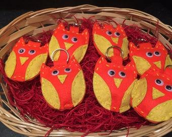Handmade felt owl keyring bright orange yellow