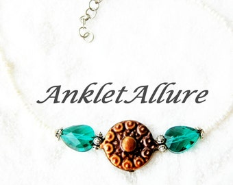 BoHo Anklet Beach Ankle Bracelet Copper Jewelry Choker Necklace Anklet for Women GUARANTEE