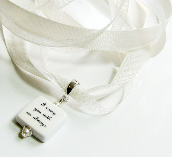 Bouquet Charm, bridal, custom photo, wedding, memorial - Mini Bouquet Jewelry with Double Ribbons - BC4a