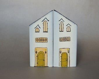 Twins Houses - Handmade wood block houses