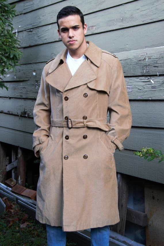Beged-Or Bis, size 42 Men, Corduroy, Trench Coat Men, Tan Trench Coat, Coat Men, Corduroy Trench Coat, Vintage 70s, Hipster