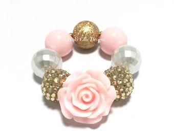 Toddler or Girls Chunky Flower Bracelet - Pale Pink, Gold and White Bracelet - Princess Rose Bracelet - Pink and Gold Chunky Bracelet