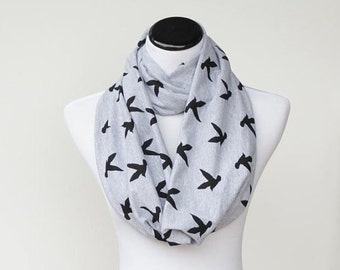 Gray Black Scarf Seagull scarf infinity scarf mom and child matching scarf toddler infant scarf, bird print jersey knit scarf loop scarf