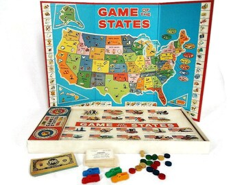 Vintage Game of the States Board Game - Milton Bradley #4920, 1960, 2-4 players, aged 7-14 - geography, USA, educational, family game night