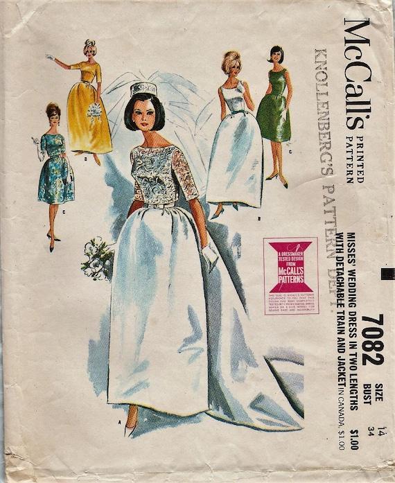 Vintage Brautkleid Schnittmuster / McCalls 7082 / Brautkleid /