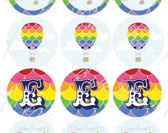 Rainbow Hot Air Balloon Printable Cupcake Toppers