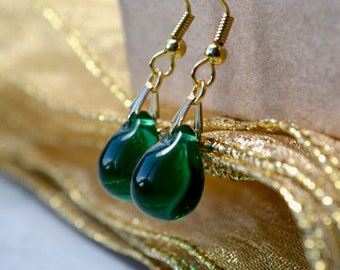 Teardrop Earrings, Dark Green Earrings, Forest Green Earring, Green Wedding, Green Drop Earrings, Bead Earrings UK, Gifts for Girlfriend