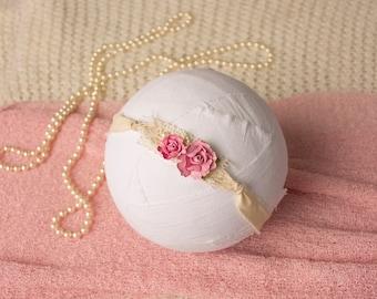Pink Newborn Tieback,  Newborn Headband, Photography Prop, Pearl Tieback, Baby Headband, Vintage Tieback