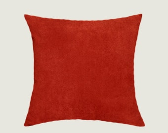 "Decorative Pillow Case, Red Orange Textured Decorative fabric Throw pillow case, fits 18"" x 18"" insert, Toss pillow case, Cushion case."