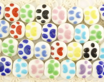 Multicolor Paw Print Round Lentil Lampwork Glass Beads (10)
