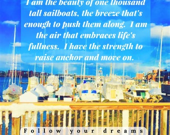 """Refrigerator Magnet, Inspirational Magnets, Motivational Quotes, Small Gifts, 4"""" Magnet, Large Magnet, Fridge Magnets, Sailboat, Dreams, Sea"""