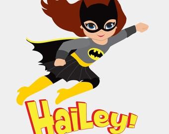 Personalized Name - Girl Super Hero - Batgirl - Bodysuit or T-Shirt