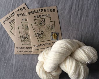 Triple Pack of Pollinator Project/ bedhead fiber Dye Flower Seeds *with* skein of US made yarn
