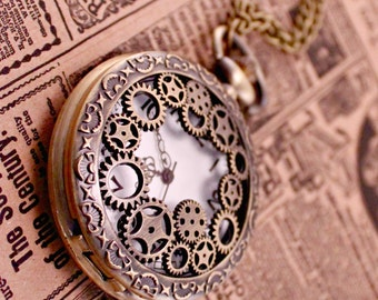 Steampunk Industrial Gears Pocket Watch with 30 Inch Brass Chain