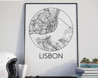 Lisbon, Portugal Minimalist City Map Print