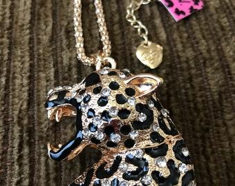 Betsey Johnson Retro Crystal Leopard Pendant
