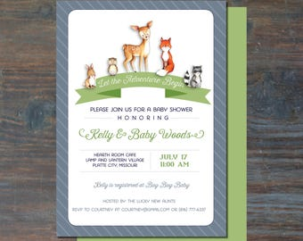 Woodlands Animals Green and Blue Baby Shower Invitation Printable PDF Modern Baby Shower