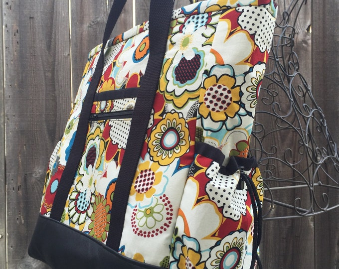Teacher Tote Bag, Knitting Bag, Zippered Travel Tote with Pockets, Nurse Tote Bag, Diaper Bag, Work Bag, Kitchen Sink Tote