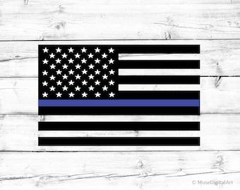 Thin Blue Line American Flag Svg Blue Lives Matter Svg Police Officer Svg Police Svg USA Flag Png US Flag Svg File for Cricut and Silhouette