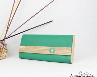 """Clutchbag """"Frida"""" Green in wood and leather"""