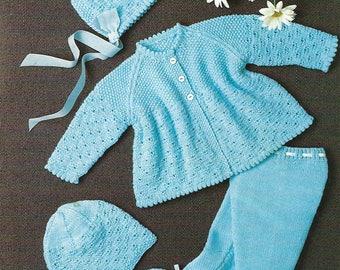 PDF Instant Digital Download baby pram set knitting pattern 18 to 20 inch  (492)