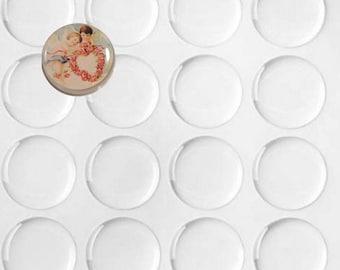 Set of 50 transparent stickers 25.4 mm