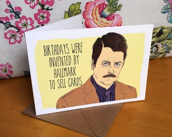 Ron Swanson Parks and Recreation Birthday Card