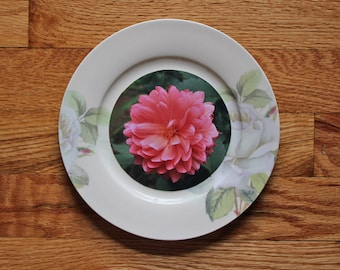 Photo Plate | Unique Frame | Plate Frame | Flower Photography | Pink Dahlia