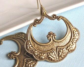 Large Ornate Brass Hoop Earrings - Boho, Brass, Bohemian