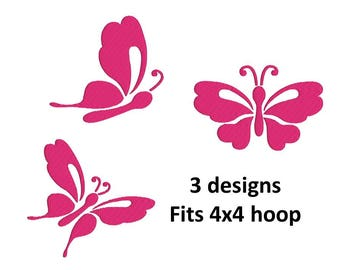 butterfly machine embroidery design, fill design, instsnt download, 3 designs, 1 size, fits 4x4 hoop
