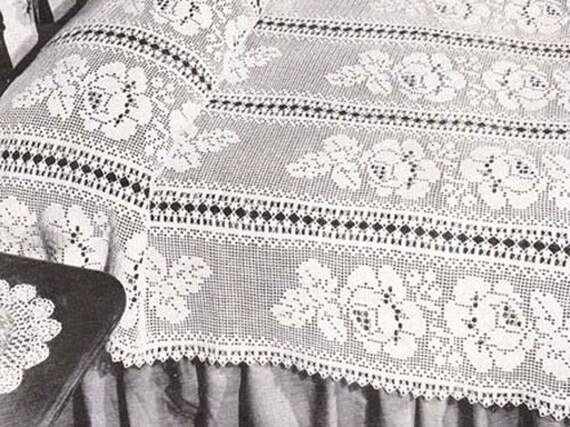 Filet Crochet Pattern Adored Floral Filet Bedspread PDF Instant ...