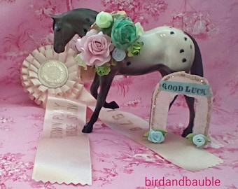 Horse, Vintage Horse Show Ribbon and Customizable Horseshoe Cake Topper/Good Luck Centerpiece