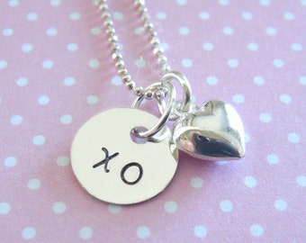 Valentines Heart Necklace with Puffed Heart Charm // valentines gift // gifts for her // sweet 16 gifts // bridesmaid gifts