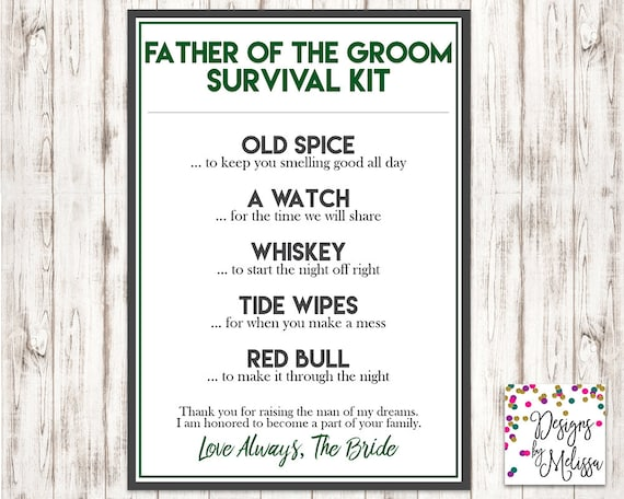 Father Of The Groom Survival Kit Wedding Day Gift Father