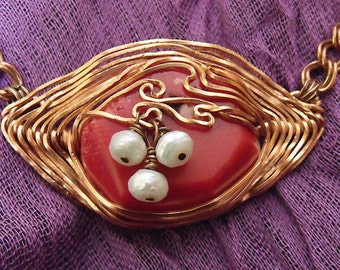 Red Coral Herringbone Wire Wrap Necklace Pure Copper * Double Charm Chain. Faceted Pearls OOAK by Maeve Made in Montana USA