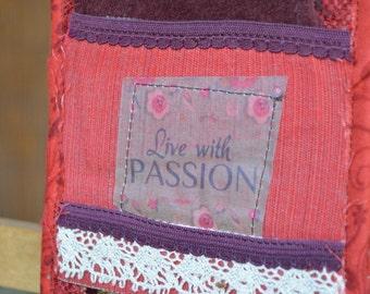Red Dark Red Doorknob Hanging Art Quilt - Passion