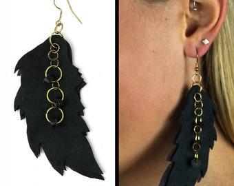 Black Leather Feather Bead and Brass Chain Earrings