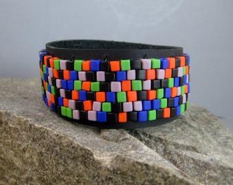 Beaded leather bracelet, multicolored beaded bracelet, mans black leather bracelet, colorful festive bracelet, mans leather cuff, boho cuff